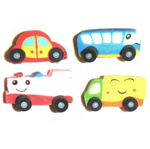 Vehicles Train Bus Car Lorry - 3D Novelty Rubbers - Set of 4